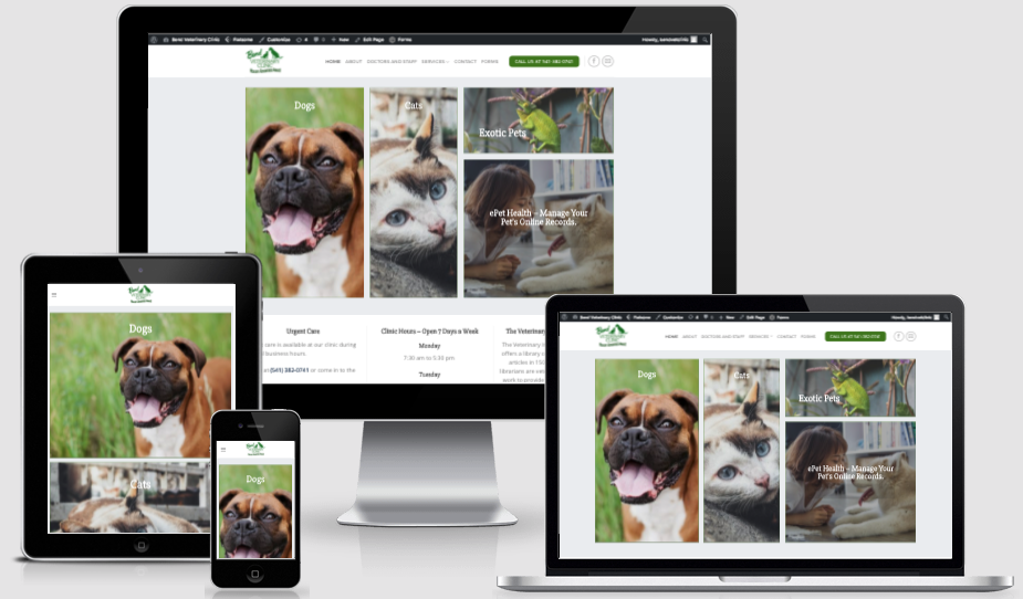 Bend Veterinary Clinic Website Snapshop